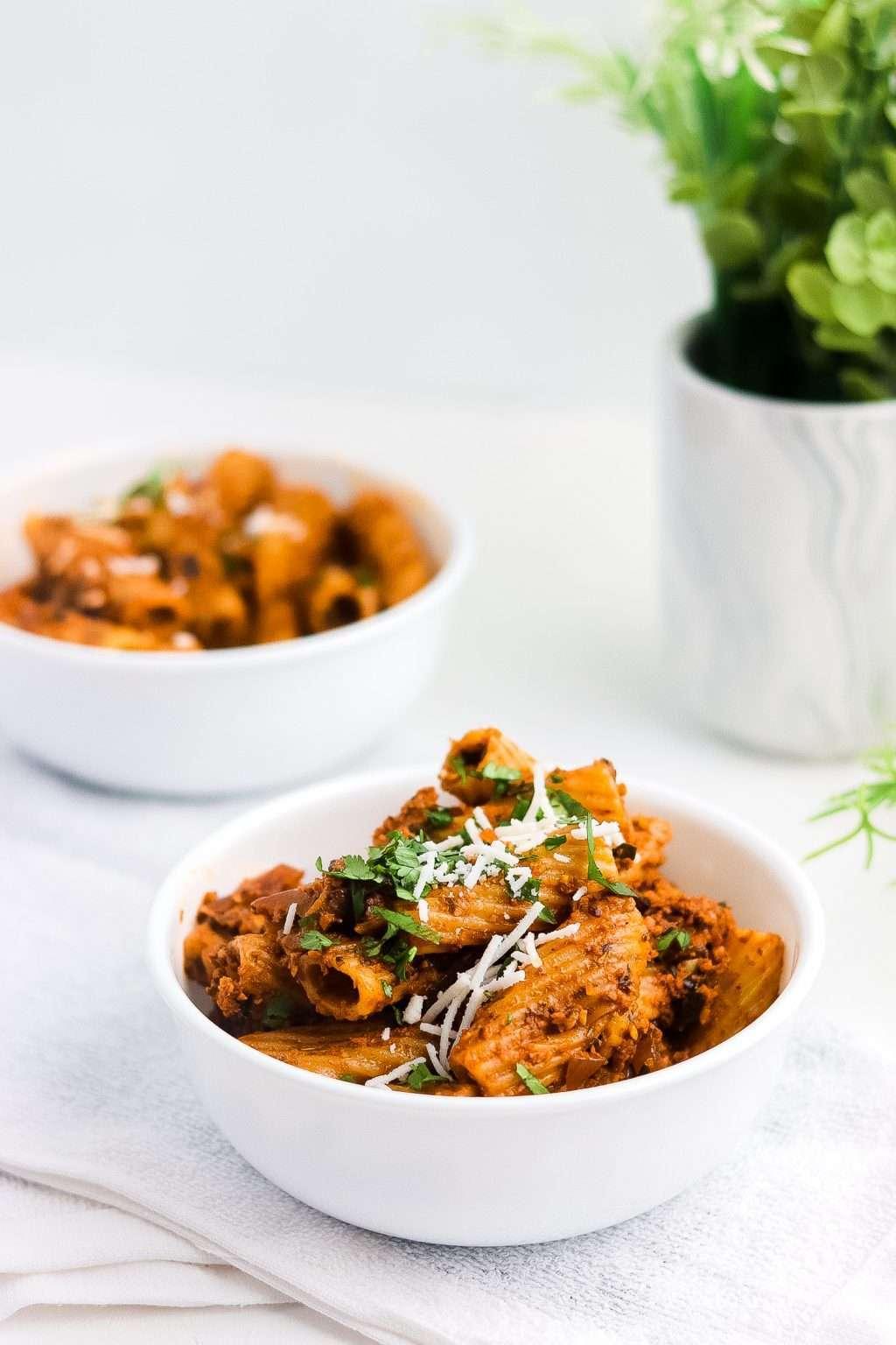 Vegan Bolognese Recipe 6061 1024x1536 - Vegan Bolognese Recipe | Meatless Rigatoni Plant-Based Dish