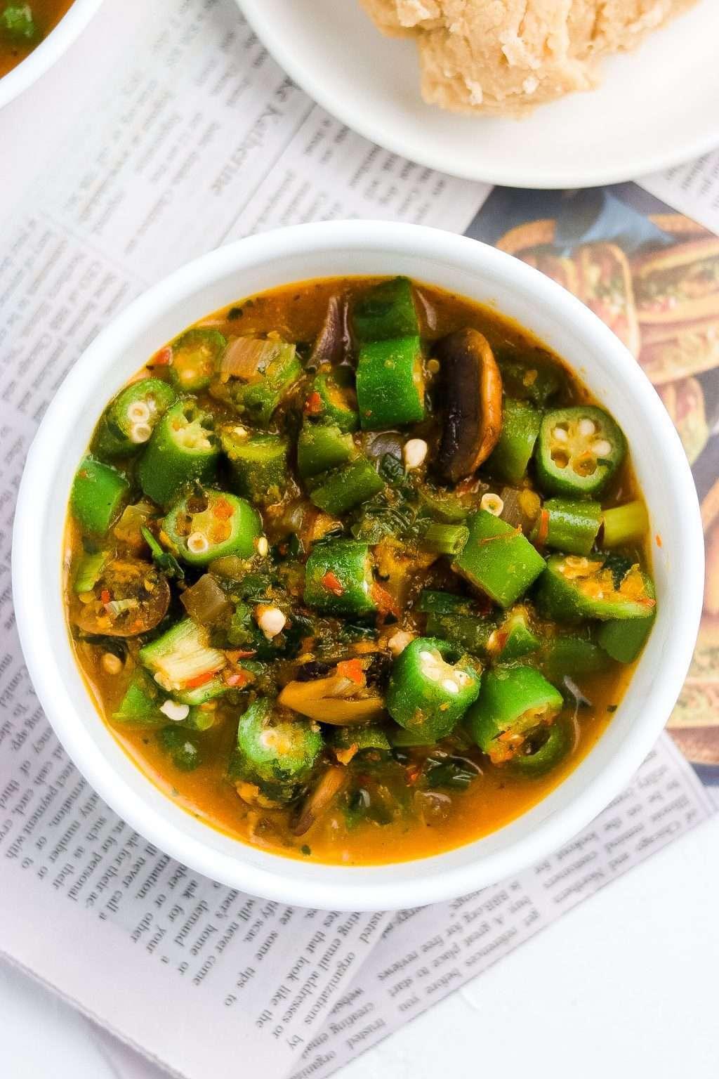 Vegan Okra Soup Recipe  6071 1024x1536 - Okra Soup Recipe | Vegan Nigerian Chunky Okro Soup Dish